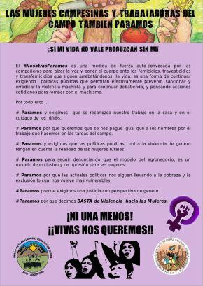 Las mujeres campesinas y trabajadoras del Campo tambiénParamos