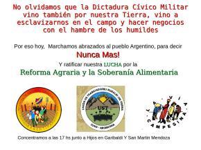 La UST marcha y convoca a la movilización por los 41 años del comienzo de la ultima dictadura cívico militar – NuncaMás